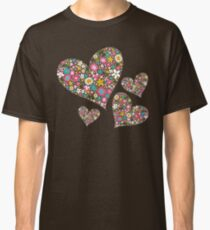 Whimsical Spring Flowers Pink Valentine Hearts Quartet Classic T-Shirt