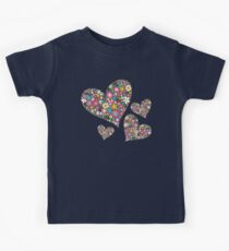 Whimsical Spring Flowers Pink Valentine Hearts Kids Tee