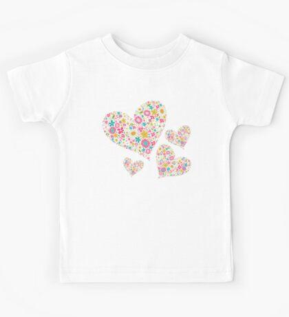 Whimsical Spring Flowers Pink Valentine Hearts Quartet Kids Clothes