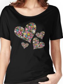 Whimsical Spring Flowers Pink Valentine Hearts Women's Relaxed Fit T-Shirt