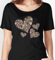 Whimsical Spring Flowers Pink Valentine Hearts Quartet Women's Relaxed Fit T-Shirt