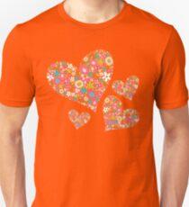 Whimsical Spring Flowers Pink Valentine Hearts Quartet T-Shirt