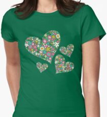 Whimsical Spring Flowers Pink Valentine Hearts Quartet Womens Fitted T-Shirt