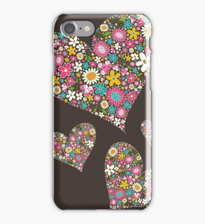 Whimsical Spring Flowers Pink Valentine Hearts Quartet iPhone Case/Skin
