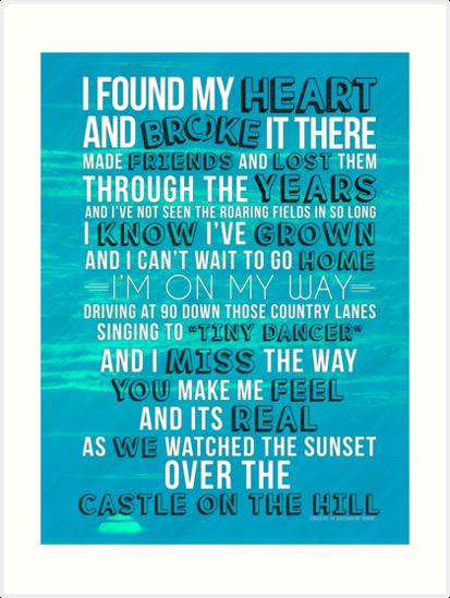 Ed Sheeran Castle On The Hill Lyric Poster Print Journal By Chris Flint