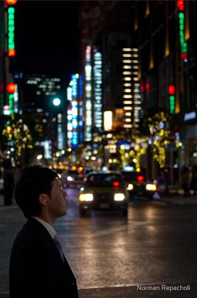Salary-man's contemplation - Tokyo, Japan by Norman Repacholi