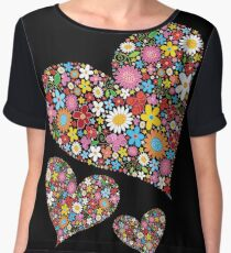 Whimsical Spring Flowers Valentine Hearts Trio Chiffon Top