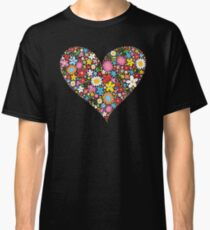 Whimsical Spring Flowers Red Valentine Heart Classic T-Shirt