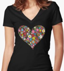 Whimsical Spring Flowers Red Valentine Heart Women's Fitted V-Neck T-Shirt