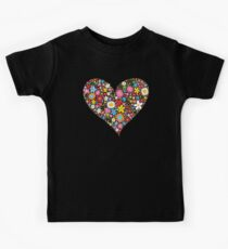 Whimsical Spring Flowers Red Valentine Heart Kids Tee