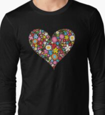 Whimsical Spring Flowers Red Valentine Heart Long Sleeve T-Shirt