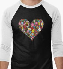 Whimsical Spring Flowers Red Valentine Heart T-Shirt