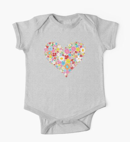 Whimsical Spring Flowers Red Valentine Heart Kids Clothes