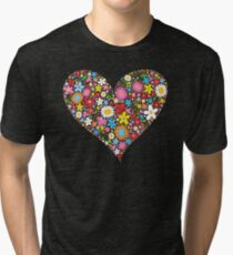 Whimsical Spring Flowers Red Valentine Heart Tri-blend T-Shirt