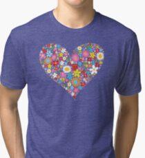 Whimsical Spring Flowers Red Valentine Heart Tri-blend T-Shirt