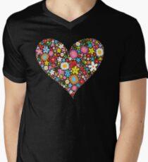 Whimsical Spring Flowers Red Valentine Heart Mens V-Neck T-Shirt