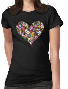Whimsical Spring Flowers Red Valentine Heart Womens Fitted T-Shirt