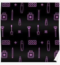 Pink Makeup Line Icon Pattern Black Poster