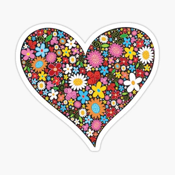 Whimsical Spring Flowers Red Valentine Heart Sticker