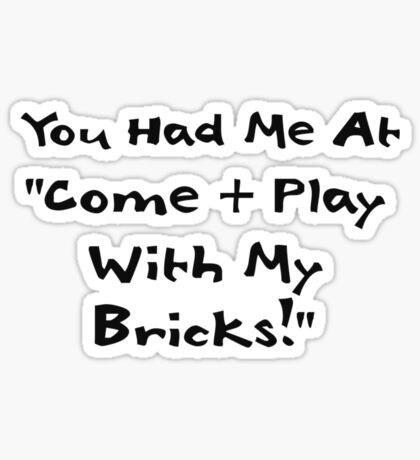 You Had me at Come and Play with My Bricks Sticker