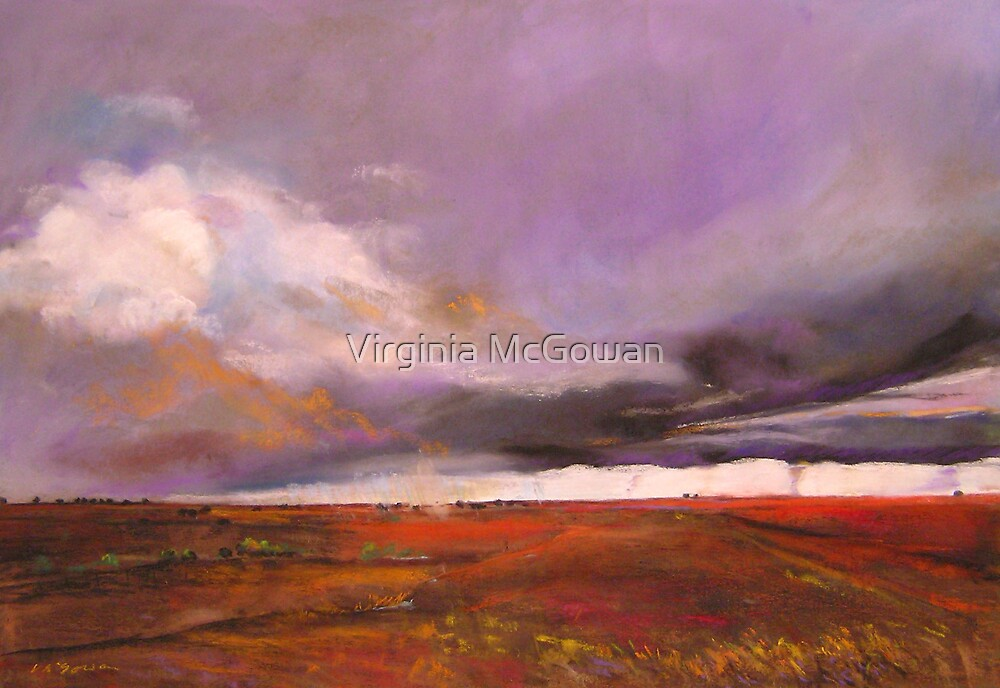Impending storm via Camooweal Qld with twisters by Virginia McGowan