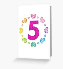 5th Birthday T-Shirt For Girls Shiny Hearts Princess Five Greeting Card