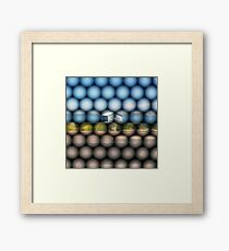 Blue Boathouse from the Bus Framed Print