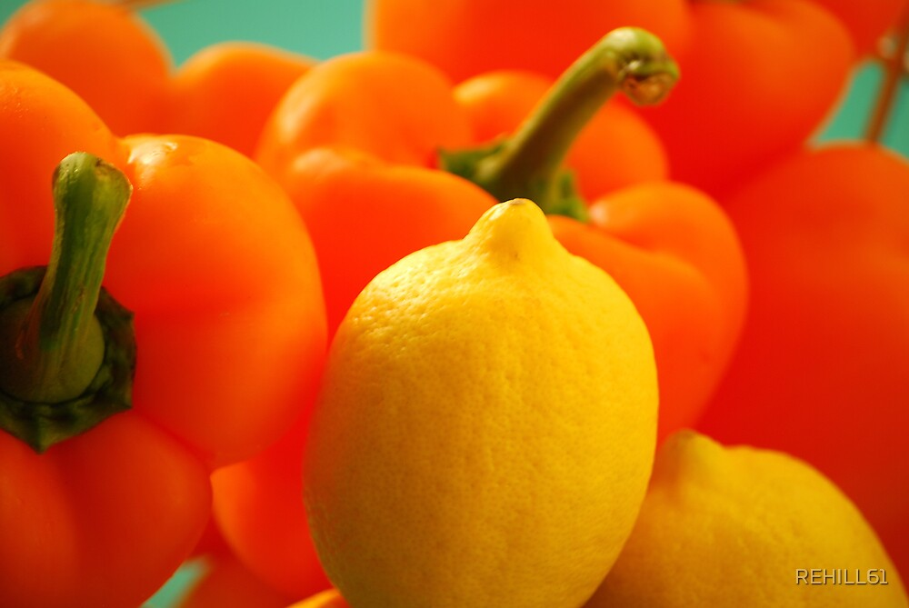 Metal Bowl with Bellpeppers and Lemons II by REHILL61