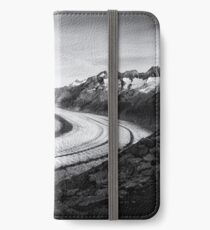 Aletschgletscher Aletsch Glacier Switzerland black and white iPhone Wallet/Case/Skin