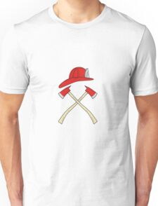 Fireman Helmet Crossed Fire Axe Drawing Unisex T-Shirt