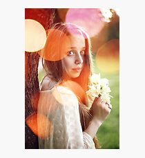 Portrait of young romantic woman with spring flowers Photographic Print