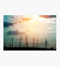 Power line at the sunset  Photographic Print