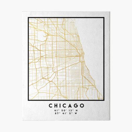 CHICAGO ILLINOIS CITY STREET MAP ART Art Board Print