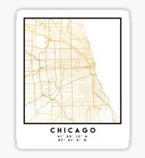 CHICAGO ILLINOIS CITY STREET MAP ART Sticker