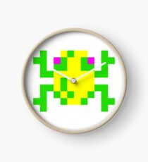 Frogger Frog White Wall Clock - choice of frame colours
