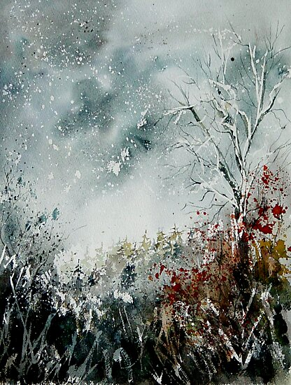 snowy landscape watercolor by calimero