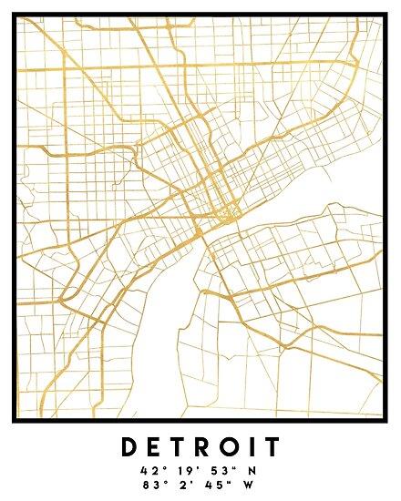 DETROIT MICHIGAN CITY STREET MAP ART \
