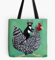 Cat Riding a Chicken Tote Bag