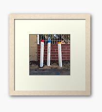 Three PVC Pipes in Primary Colors Framed Print