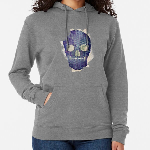 Purple Skull with Moustache Lightweight Hoodie