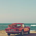 Triumph Spitfire by the sea, with ship, fine art photo, british car, sports car, color, high definition, classic car, supercar, old car print by Spallutos