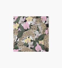 Seamless pattern of exotic flower orchid and jaguar Art Board