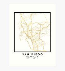 SAN DIEGO CALIFORNIA CITY STREET MAP ART  Art Print