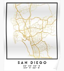 SAN DIEGO CALIFORNIA CITY STREET MAP ART  Poster