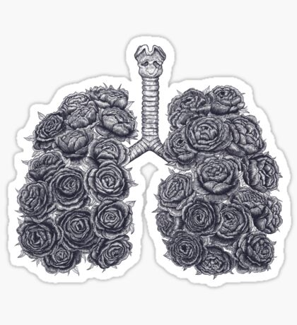 Lungs with peonies Sticker