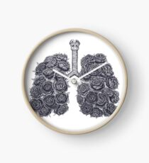 Lungs with peonies Clock