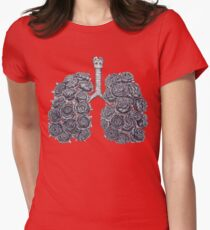 Lungs with peonies Womens Fitted T-Shirt
