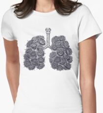 Lungs with peonies Women's Fitted T-Shirt