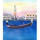 Venedig Italien Gondel am Canal Grande mit San Marco - Retro Poster by artshop77