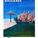Palma de Mallorca mit Kathedrale von La Seu - Retro Vintage Poster by artshop77